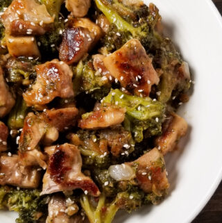sticky sesame chicken and broccoli