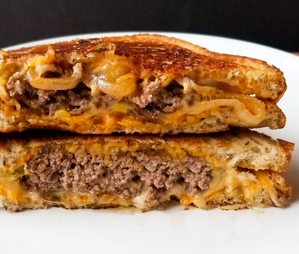 patty melt with grilled onions