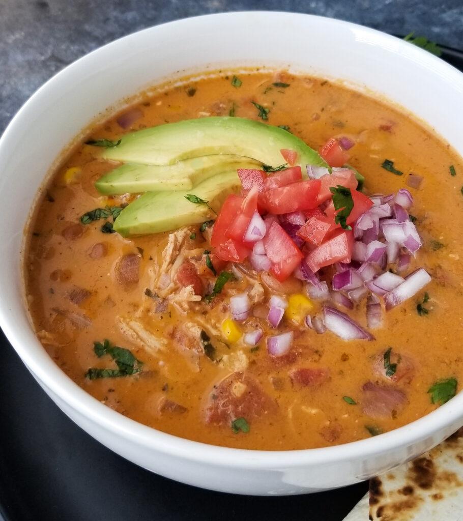 creamy chicken taco soup