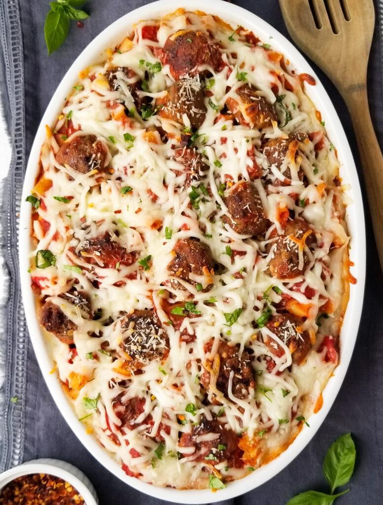 baked meatball pasta