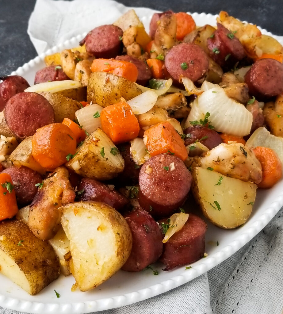 sheet pan kielbasa and veggies
