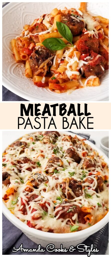 pinterest image meatball pasta bake