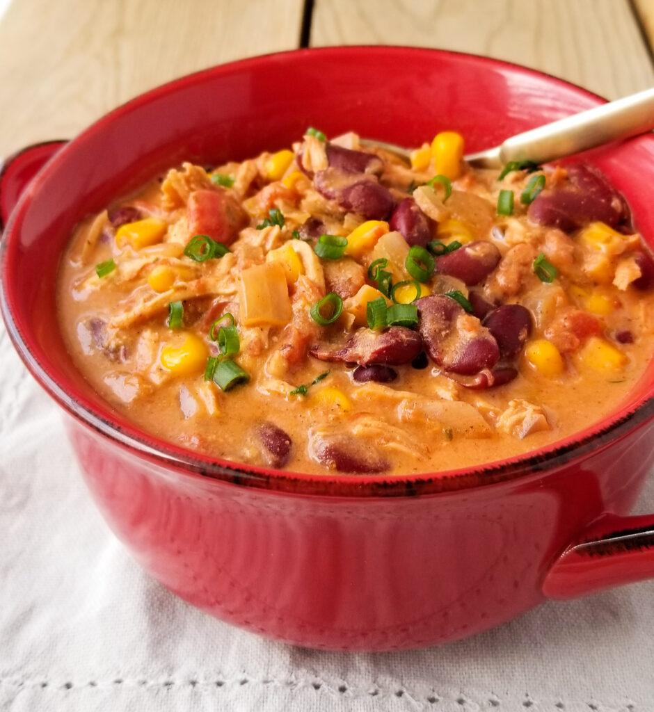 crockpot creamy chicken chili in bowl