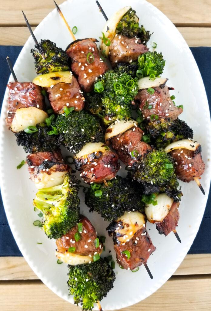 broccoli beef skewers