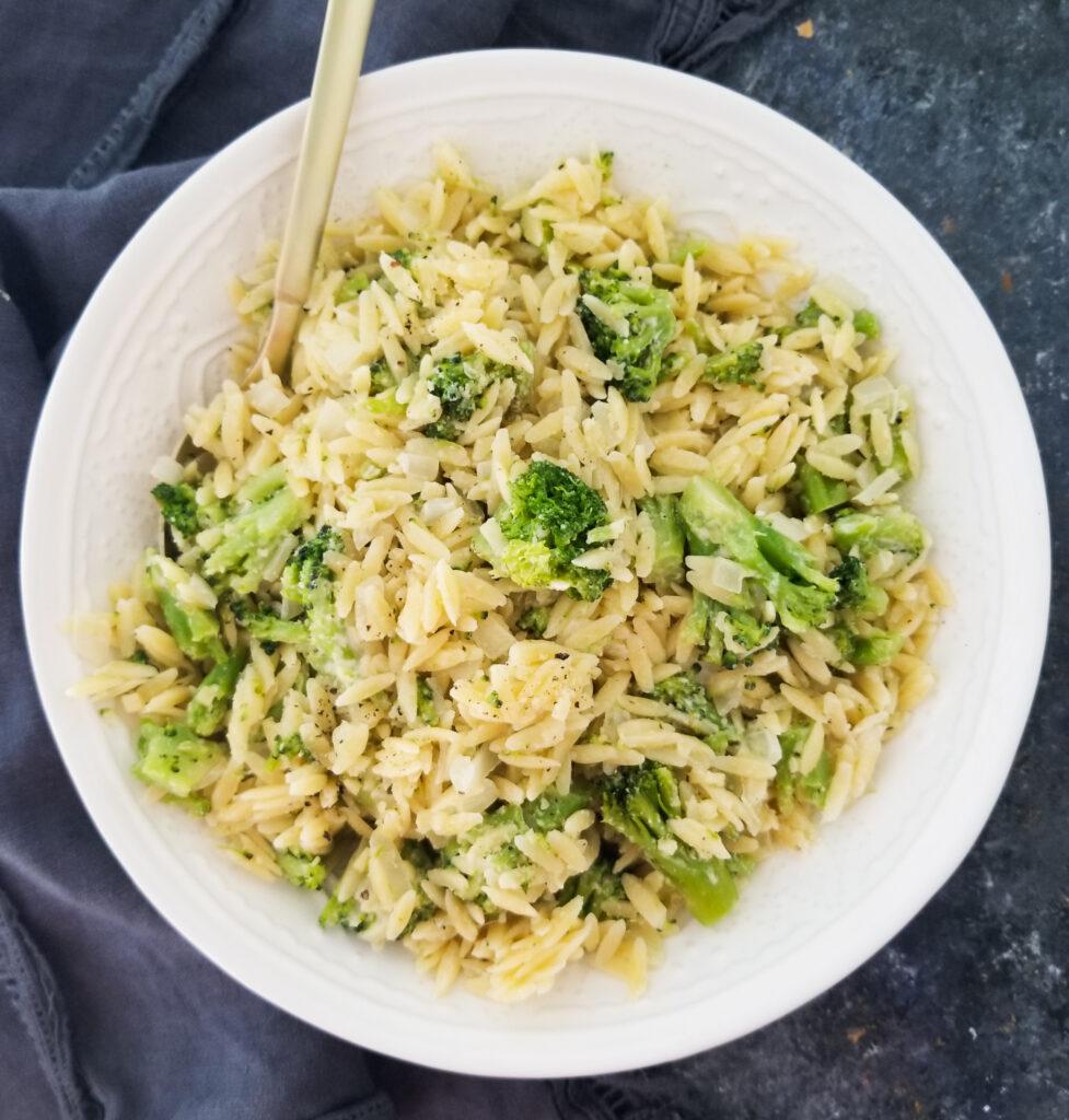 parmesan orzo with broccoli