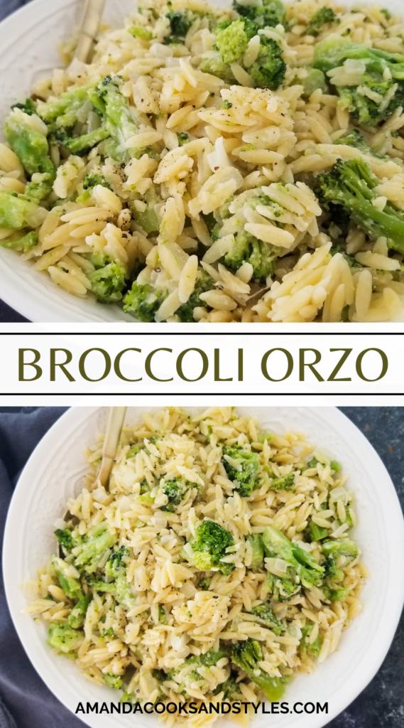 bowl of orzo with broccoli